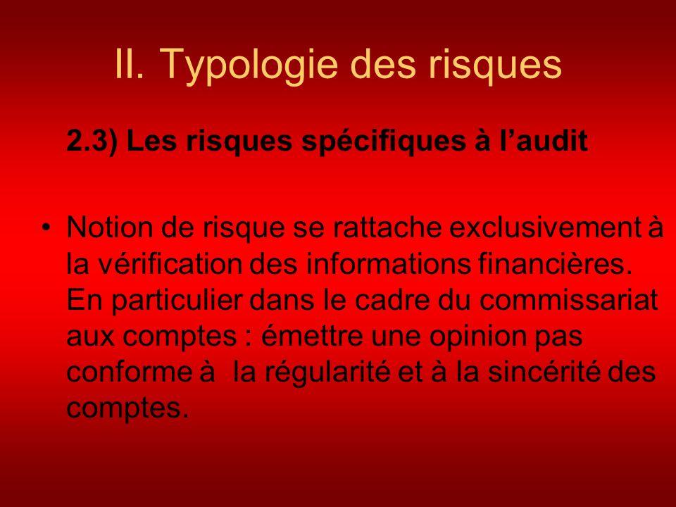 II. Typologie des risques 2.3) Les risques spécifiques à laudit Notion de risque se rattache exclusivement à la vérification des informations financiè