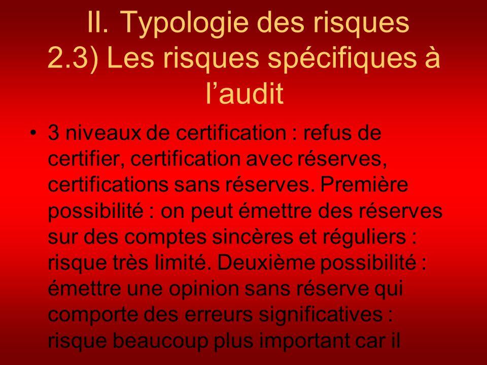 II. Typologie des risques 2.3) Les risques spécifiques à laudit 3 niveaux de certification : refus de certifier, certification avec réserves, certific