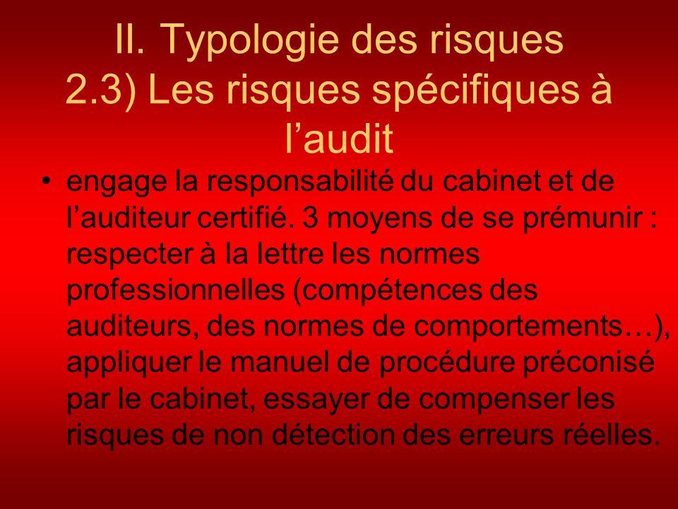 II. Typologie des risques 2.3) Les risques spécifiques à laudit engage la responsabilité du cabinet et de lauditeur certifié. 3 moyens de se prémunir