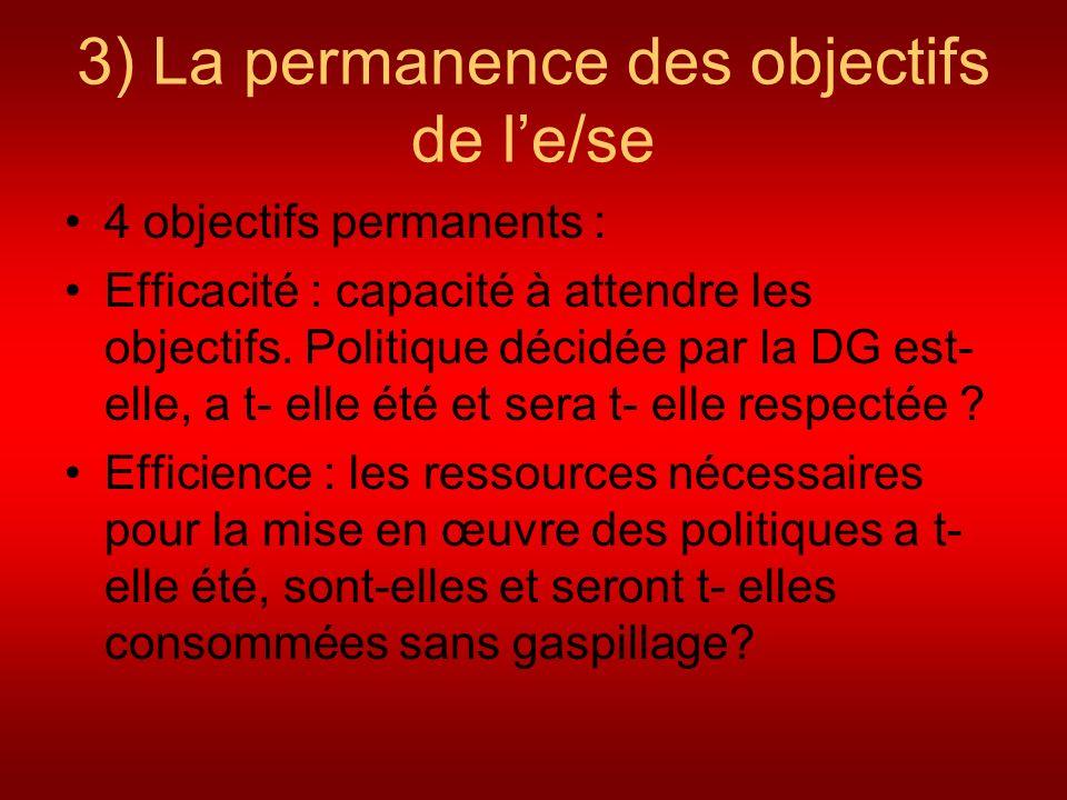 3) La permanence des objectifs de le/se 4 objectifs permanents : Efficacité : capacité à attendre les objectifs. Politique décidée par la DG est- elle