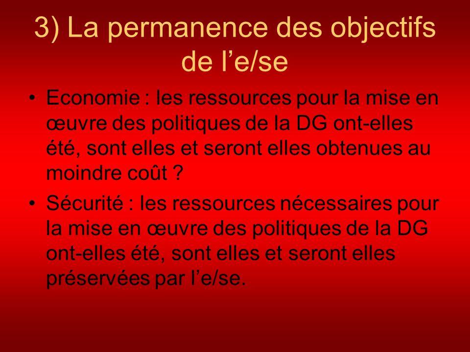 3) La permanence des objectifs de le/se Economie : les ressources pour la mise en œuvre des politiques de la DG ont-elles été, sont elles et seront el