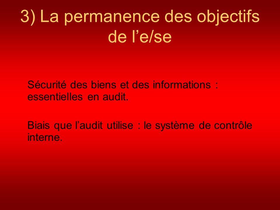 3) La permanence des objectifs de le/se Sécurité des biens et des informations : essentielles en audit. Biais que laudit utilise : le système de contr