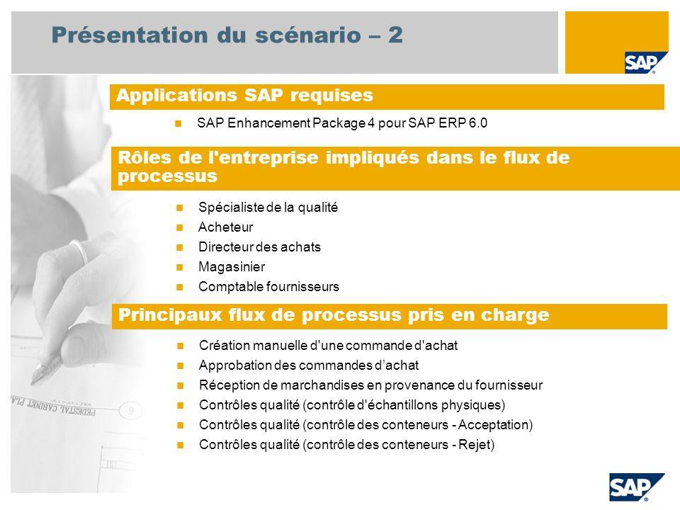 Présentation du scénario – 2 SAP Enhancement Package 4 pour SAP ERP 6.0 Applications SAP requises Spécialiste de la qualité Acheteur Directeur des achats Magasinier Comptable fournisseurs Rôles de l entreprise impliqués dans le flux de processus Création manuelle d une commande d achat Approbation des commandes dachat Réception de marchandises en provenance du fournisseur Contrôles qualité (contrôle d échantillons physiques) Contrôles qualité (contrôle des conteneurs - Acceptation) Contrôles qualité (contrôle des conteneurs - Rejet) Principaux flux de processus pris en charge