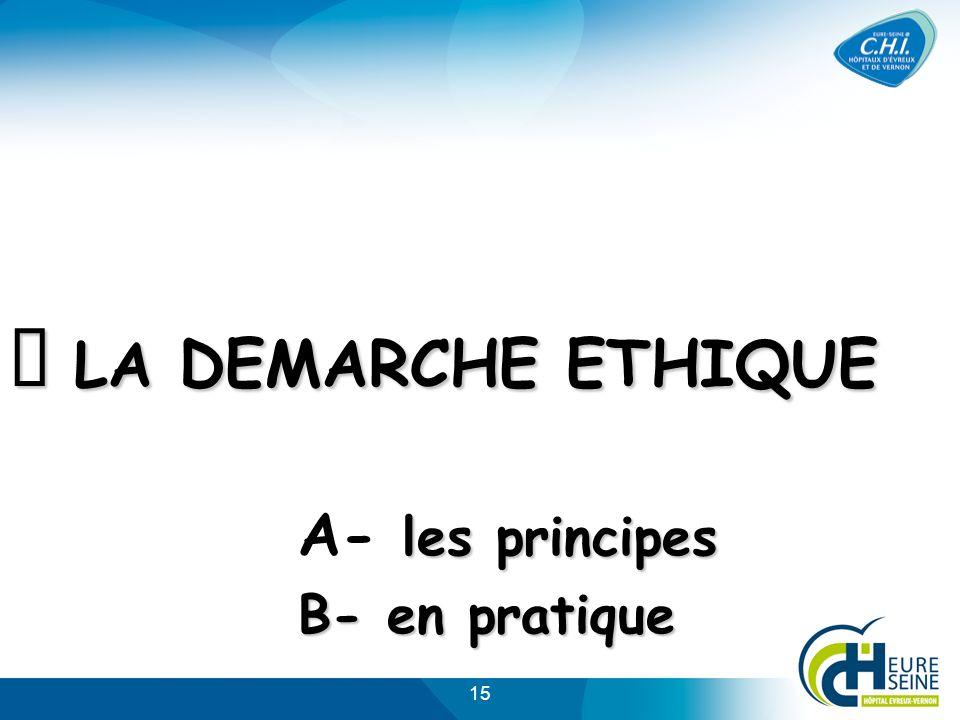 15 LA DEMARCHE ETHIQUE les principes B- en pratique LA DEMARCHE ETHIQUE A- les principes B- en pratique
