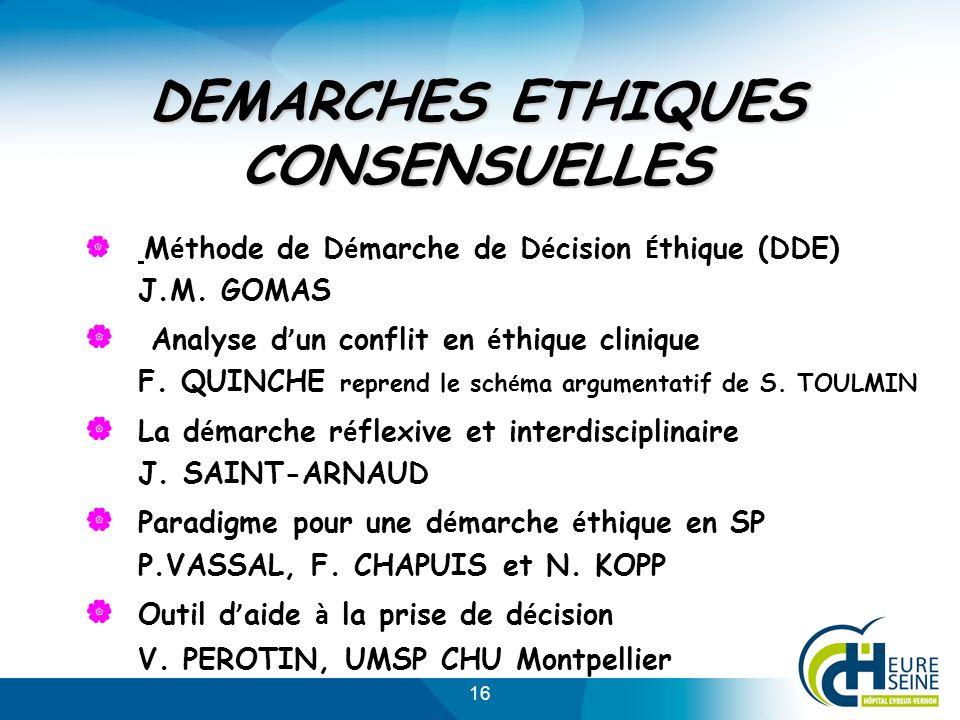 16 DEMARCHES ETHIQUES CONSENSUELLES M é thode de D é marche de D é cision É thique (DDE) J.M. GOMAS Analyse d un conflit en é thique clinique F. QUINC