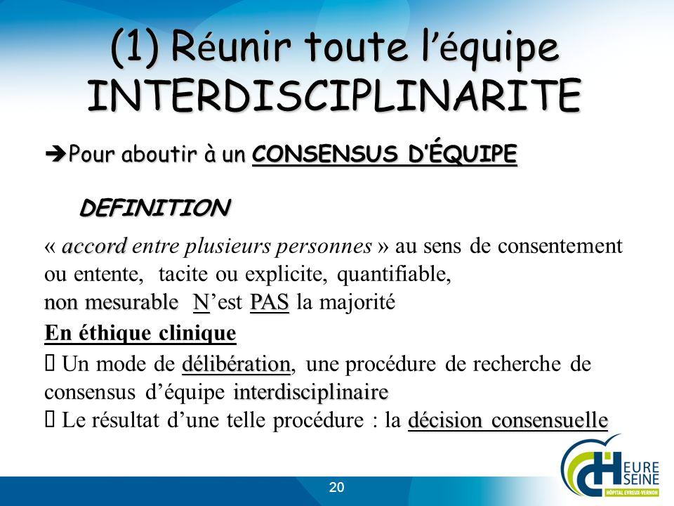 20 (1) R é unir toute l é quipe INTERDISCIPLINARITE Pour aboutir à un CONSENSUS DÉQUIPE Pour aboutir à un CONSENSUS DÉQUIPEDEFINITION accord non mesur