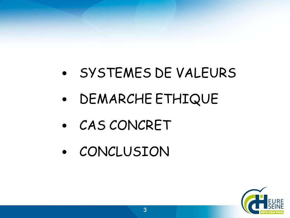 3 SYSTEMES DE VALEURS DEMARCHE ETHIQUE CAS CONCRET CONCLUSION