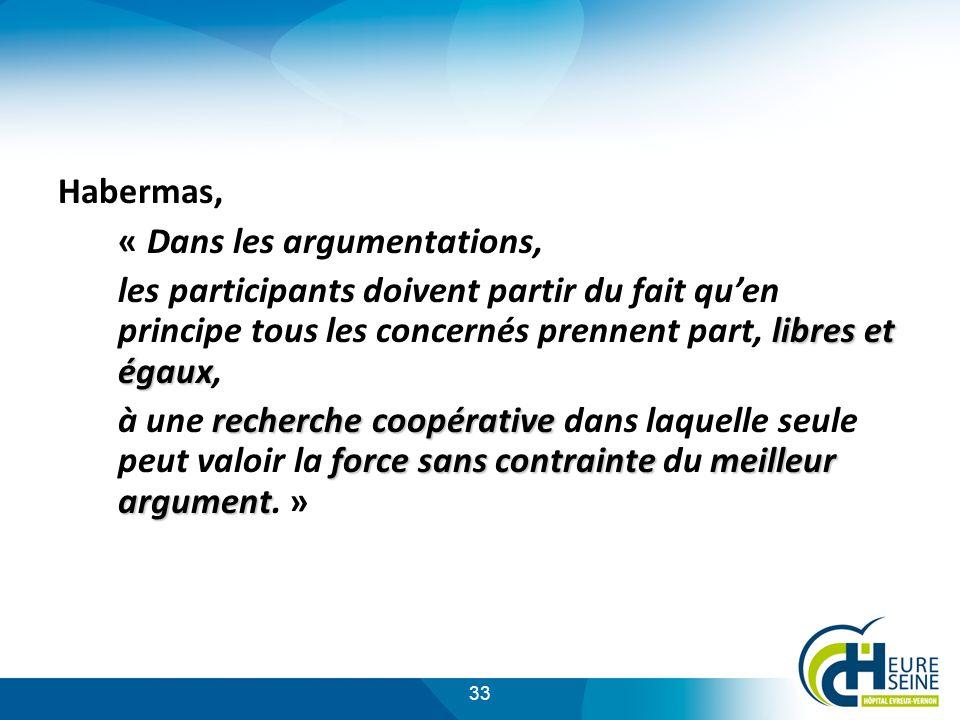 33 Habermas, « Dans les argumentations, libres et égaux les participants doivent partir du fait quen principe tous les concernés prennent part, libres