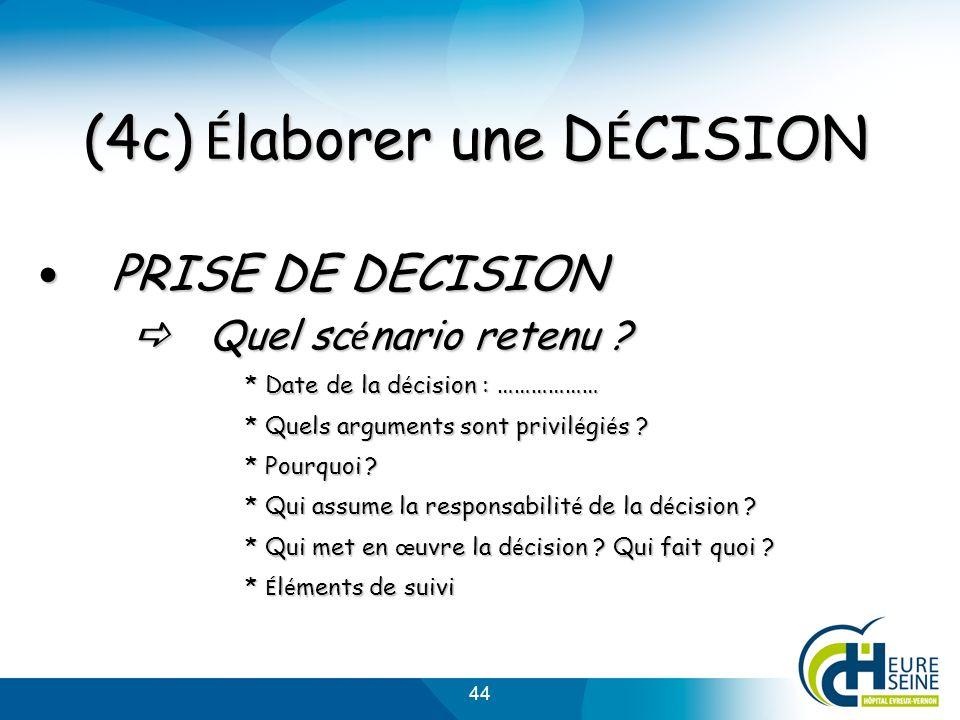 44 (4c) É laborer une D É CISION PRISE DE DECISION PRISE DE DECISION Quel sc é nario retenu ? Quel sc é nario retenu ? * Date de la d é cision : ……………