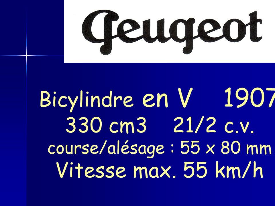 Bicylindre en V 1907 330 cm3 21/2 c.v. course/alésage : 55 x 80 mm Vitesse max. 55 km/h