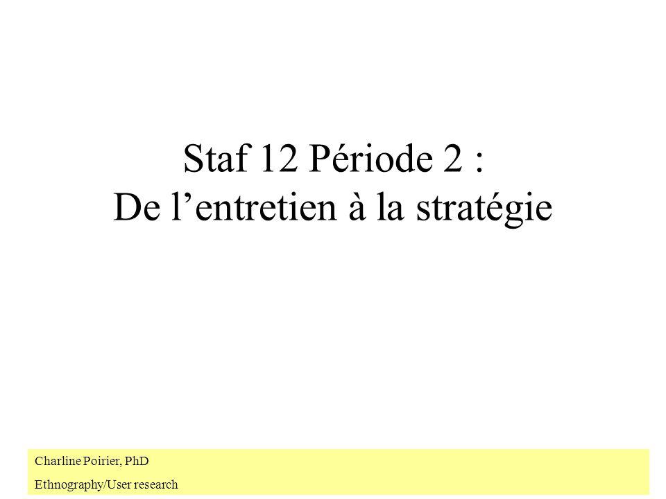 Staf 12 Période 2 : De lentretien à la stratégie Charline Poirier, PhD Ethnography/User research