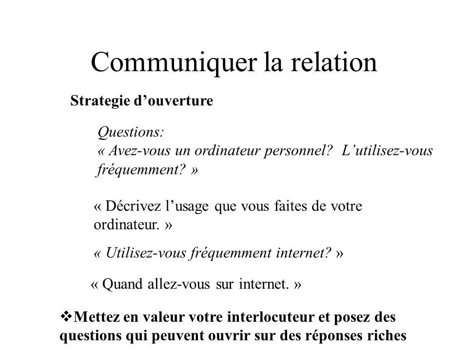 Communiquer la relation Strategie douverture Questions: « Avez-vous un ordinateur personnel.