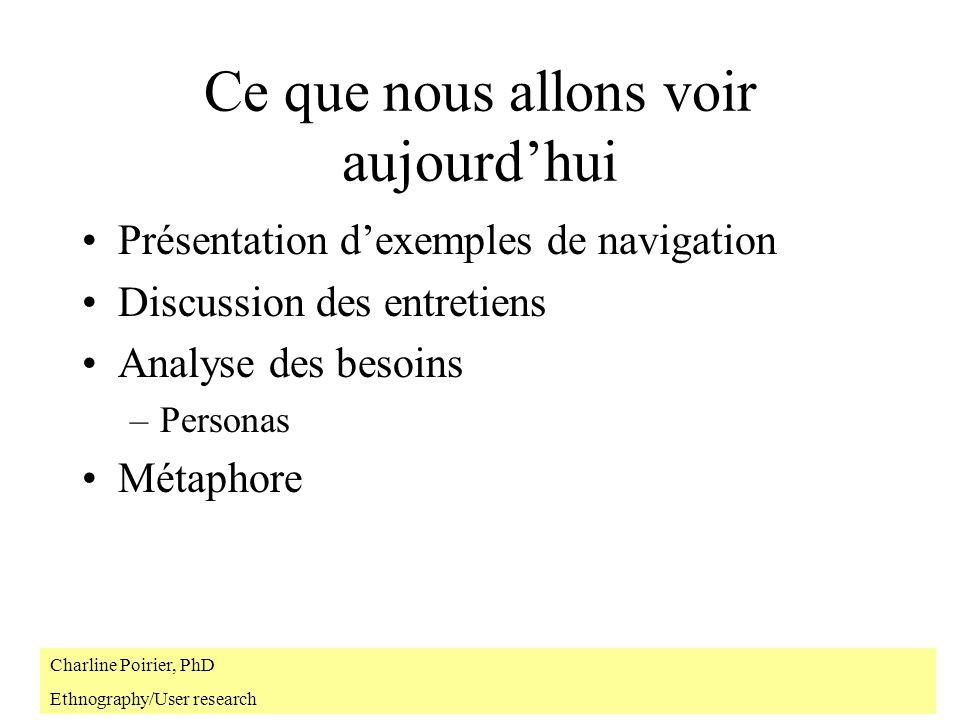 Navigation http://www.lancia.com/ypsilon/f_home.html http://www.macromedia.com/support/forums/ http://salix.geo.unizh.ch:7777/incubator/units/01/01.htm http://www.aber.ac.uk/media/Documents/S4B/ Charline Poirier, PhD Ethnography/User research