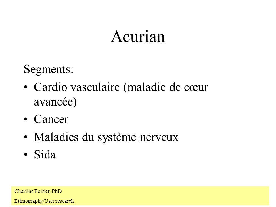 Acurian Segments: Cardio vasculaire (maladie de cœur avancée) Cancer Maladies du système nerveux Sida Charline Poirier, PhD Ethnography/User research