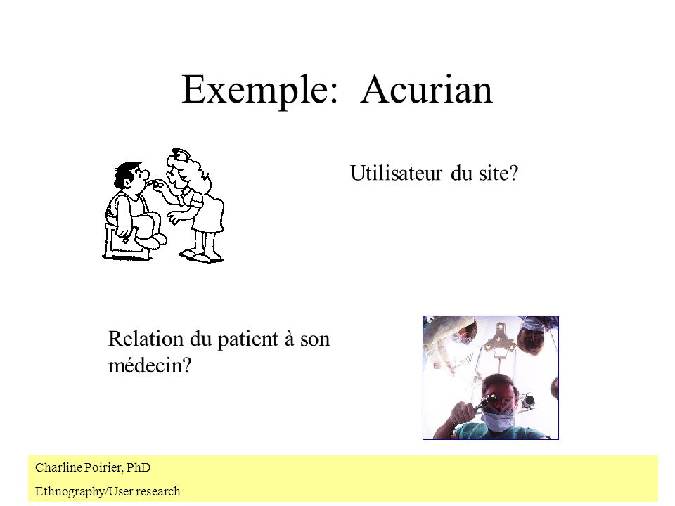 Exemple: Acurian Relation du patient à son médecin? Utilisateur du site? Charline Poirier, PhD Ethnography/User research
