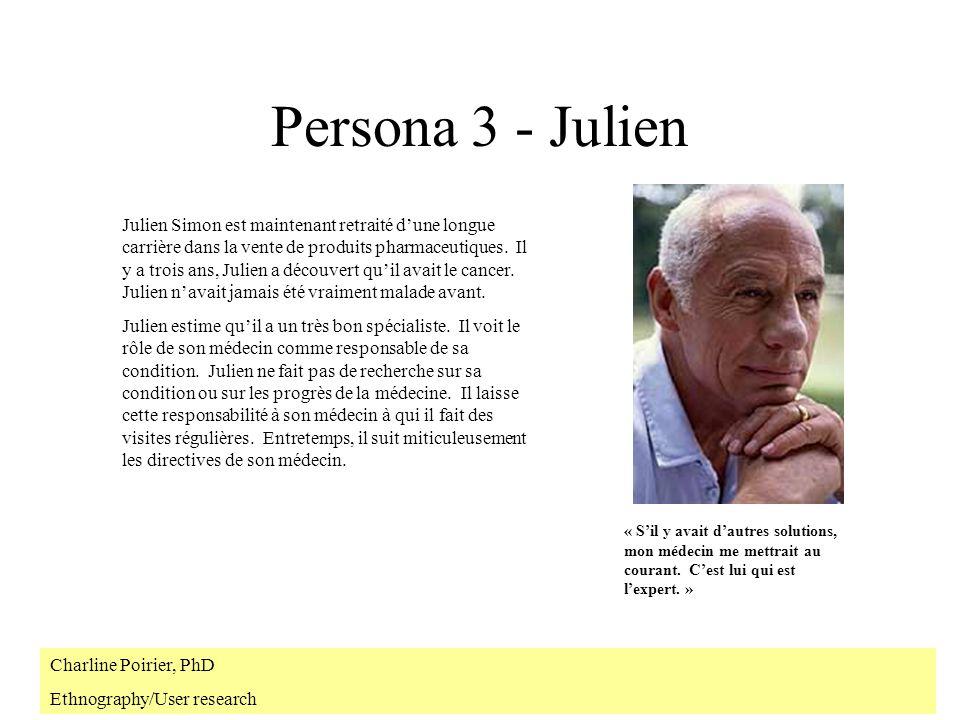 Persona 3 - Julien Julien Simon est maintenant retraité dune longue carrière dans la vente de produits pharmaceutiques.