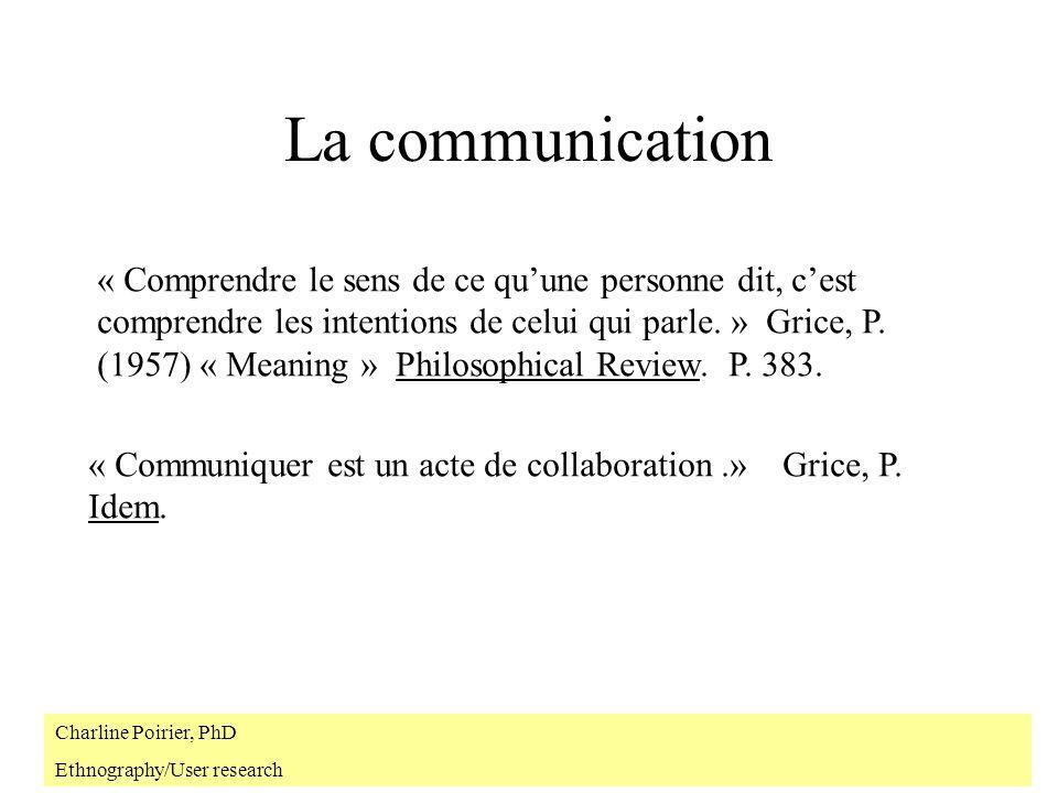 La communication « Comprendre le sens de ce quune personne dit, cest comprendre les intentions de celui qui parle.