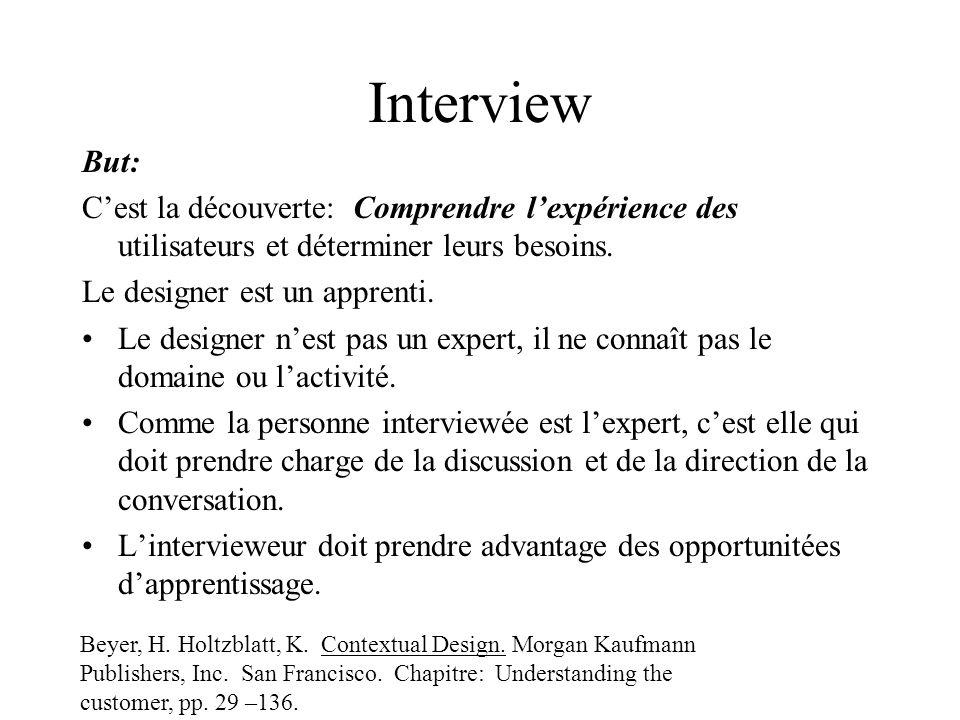 Interview But: Cest la découverte: Comprendre lexpérience des utilisateurs et déterminer leurs besoins.