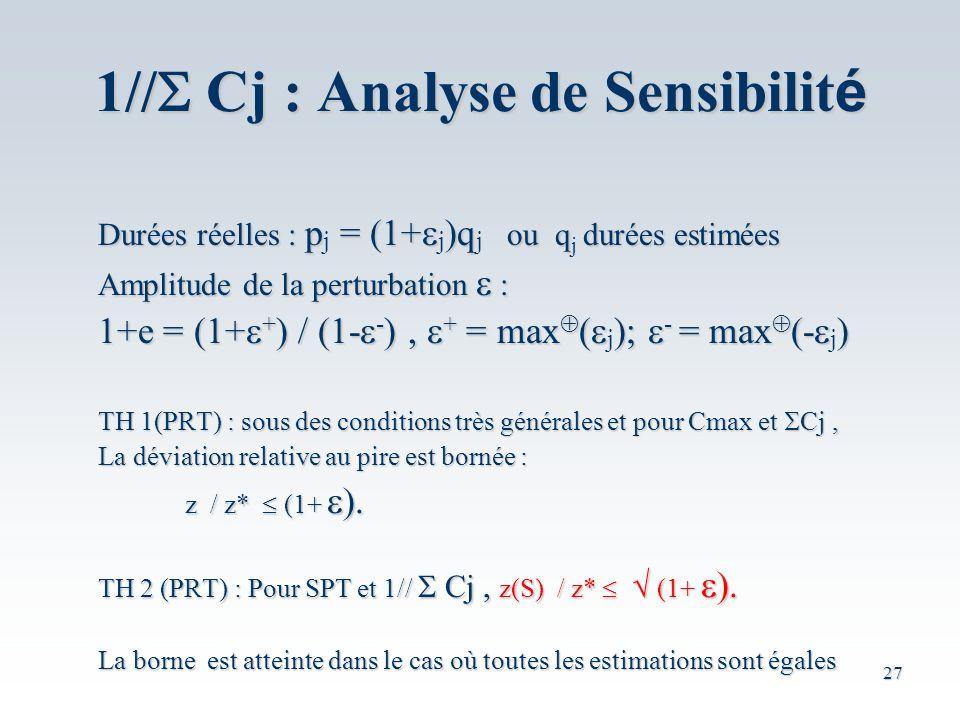 27 Durées réelles : p = (1+ )q ou qdurées estimées Durées réelles : p j = (1+ j )q j ou q j durées estimées Amplitude de la perturbation : 1+e = (1+ + ) / (1- - ), + = max ( ); - = max (- ) 1+e = (1+ + ) / (1- - ), + = max ( j ); - = max (- j ) TH 1(PRT) : sous des conditions très générales et pour Cmax et Cj, La déviation relative au pire est bornée : z / z* (1+ z / z* (1+ TH 2 (PRT) : Pour SPT et 1// Cj, z(S) / z* (1+ TH 2 (PRT) : Pour SPT et 1// Cj, z(S) / z* (1+ La borne est atteinte dans le cas où toutes les estimations sont égales 1// Cj : Analyse de Sensibilit é
