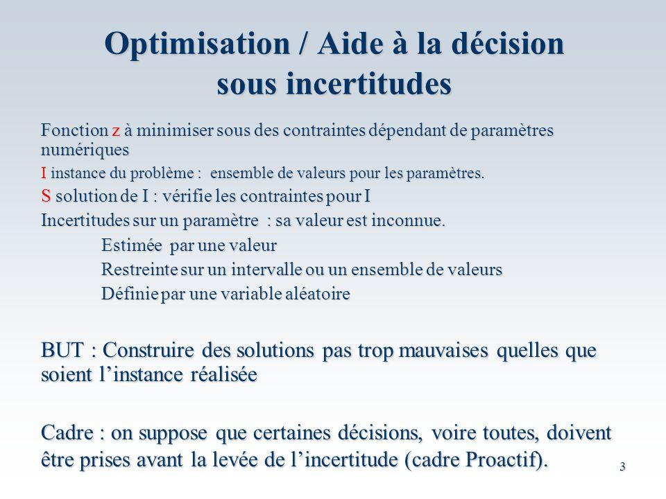 3 Optimisation / Aide à la décision sous incertitudes Fonction z à minimiser sous des contraintes dépendant de paramètres numériques I instance du problème : ensemble de valeurs pour les paramètres.