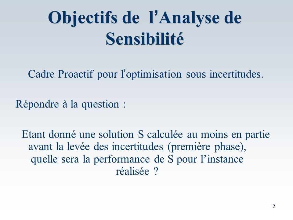 5 Objectifs de l Analyse de Sensibilité Cadre Proactif pour l optimisation sous incertitudes.