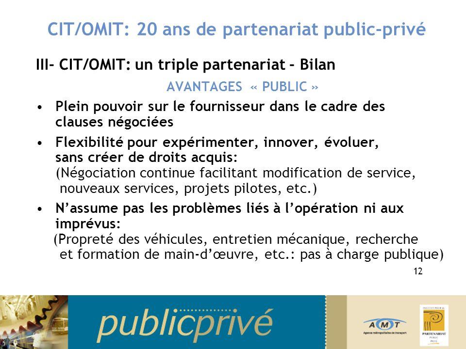 CIT/OMIT: 20 ans de partenariat public-privé III- CIT/OMIT: un triple partenariat - Bilan AVANTAGES « PUBLIC » Plein pouvoir sur le fournisseur dans le cadre des clauses négociées Flexibilité pour expérimenter, innover, évoluer, sans créer de droits acquis: (Négociation continue facilitant modification de service, nouveaux services, projets pilotes, etc.) Nassume pas les problèmes liés à lopération ni aux imprévus: (Propreté des véhicules, entretien mécanique, recherche et formation de main-dœuvre, etc.: pas à charge publique) 12