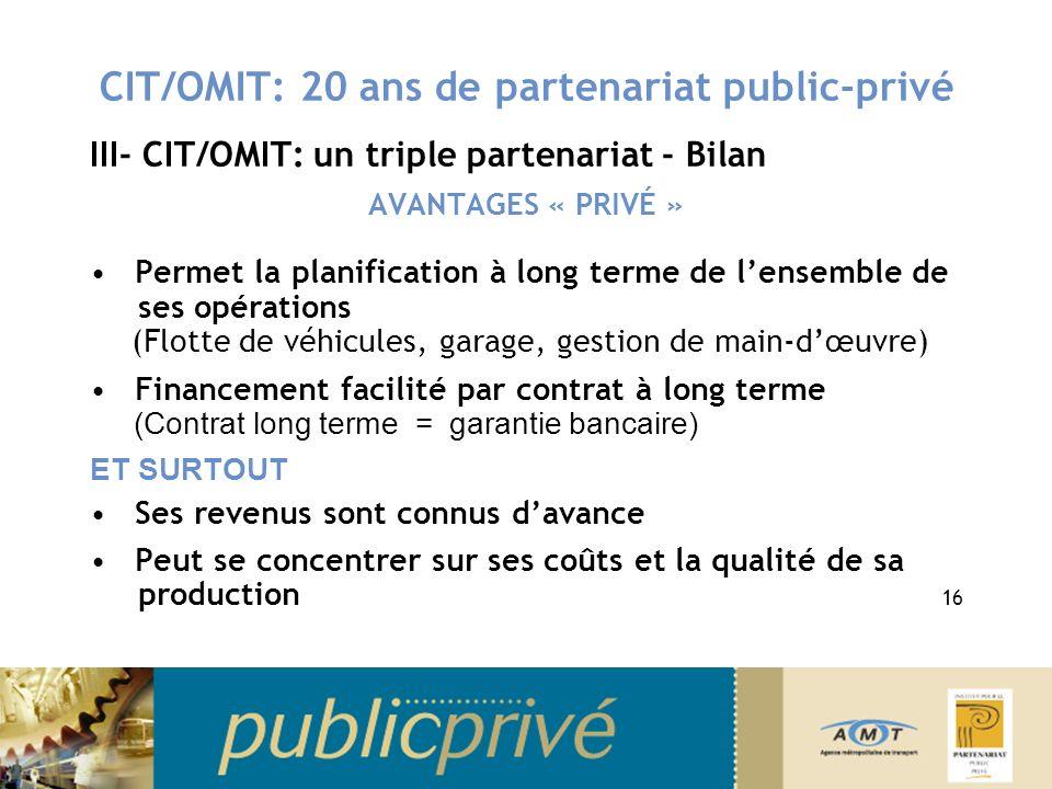 CIT/OMIT: 20 ans de partenariat public-privé III- CIT/OMIT: un triple partenariat - Bilan AVANTAGES « PRIVÉ » Permet la planification à long terme de lensemble de ses opérations (Flotte de véhicules, garage, gestion de main-dœuvre) Financement facilité par contrat à long terme (Contrat long terme = garantie bancaire) ET SURTOUT Ses revenus sont connus davance Peut se concentrer sur ses coûts et la qualité de sa production 16