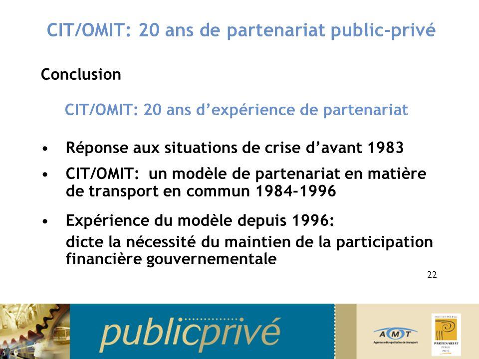 CIT/OMIT: 20 ans de partenariat public-privé Conclusion CIT/OMIT: 20 ans dexpérience de partenariat Réponse aux situations de crise davant 1983 CIT/OMIT: un modèle de partenariat en matière de transport en commun 1984-1996 Expérience du modèle depuis 1996: dicte la nécessité du maintien de la participation financière gouvernementale 22