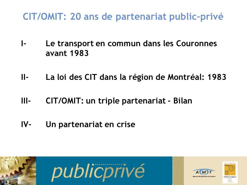 CIT/OMIT: 20 ans de partenariat public-privé I-Le transport en commun dans les Couronnes avant 1983 II- La loi des CIT dans la région de Montréal: 1983 III- CIT/OMIT: un triple partenariat - Bilan IV-Un partenariat en crise