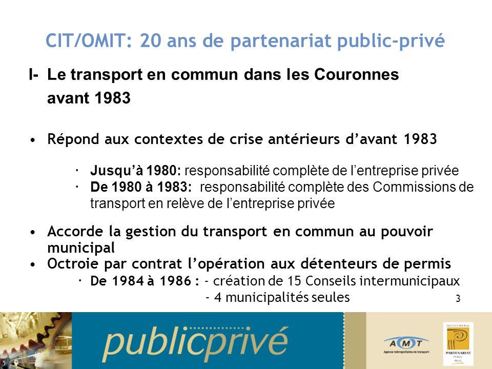 I- Le transport en commun dans les Couronnes avant 1983 Répond aux contextes de crise antérieurs davant 1983 Jusquà 1980: responsabilité complète de l