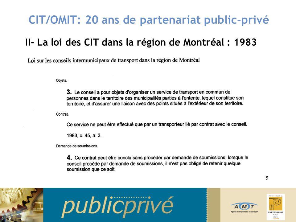 CIT/OMIT: 20 ans de partenariat public-privé II- La loi des CIT dans la région de Montréal: 1983 Responsabilisation municipale en matière de transport en commun Loi basée sur la notion dEntentes Entente intermunicipale: niveau de service et établissement des quotes-parts Entente avec transporteur, fournisseur: négociation de gré à gré, sans nécessité de processus de soumission publique Retour du « Privé » dans le champ du transport en commun 6