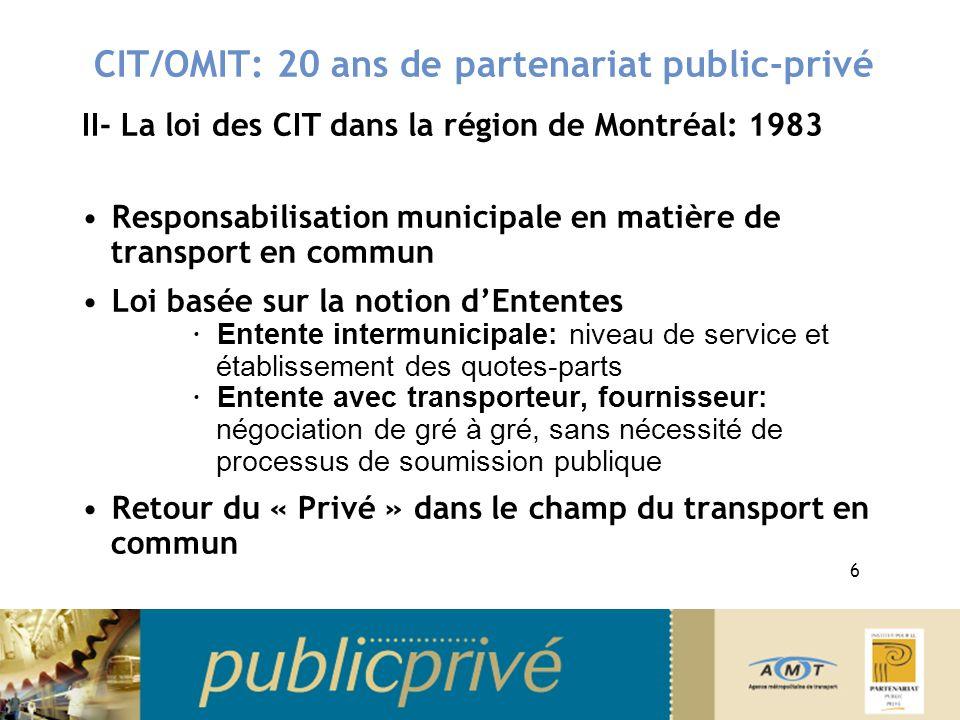 CIT/OMIT: 20 ans de partenariat public-privé II- La loi des CIT dans la région de Montréal: 1983 Responsabilisation municipale en matière de transport