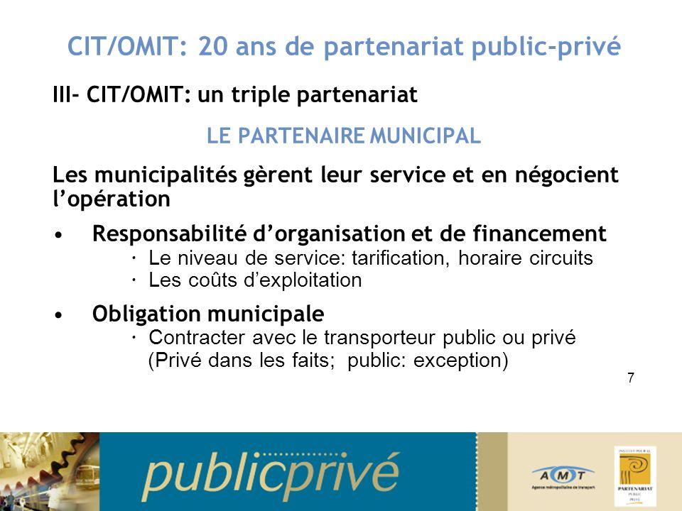 CIT/OMIT: 20 ans de partenariat public-privé III- CIT/OMIT: un triple partenariat - Bilan De 1985 à 2002: Progression achalandage Progression des coûts Progression de la part des usagers Progression de la part municipale Progression de la part gouvernementale 18
