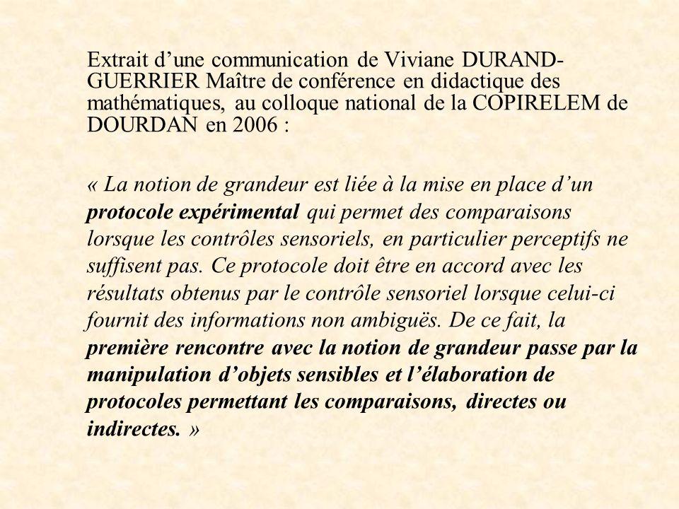 Extrait dune communication de Viviane DURAND- GUERRIER Maître de conférence en didactique des mathématiques, au colloque national de la COPIRELEM de D