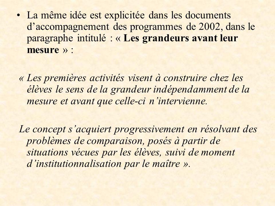 La même idée est explicitée dans les documents daccompagnement des programmes de 2002, dans le paragraphe intitulé : « Les grandeurs avant leur mesure
