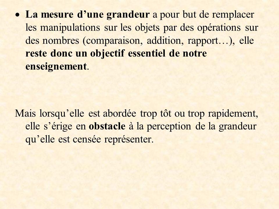 La mesure dune grandeur a pour but de remplacer les manipulations sur les objets par des opérations sur des nombres (comparaison, addition, rapport…),