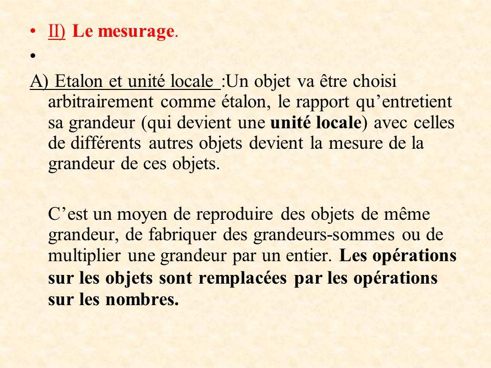 II) Le mesurage. A) Etalon et unité locale :Un objet va être choisi arbitrairement comme étalon, le rapport quentretient sa grandeur (qui devient une
