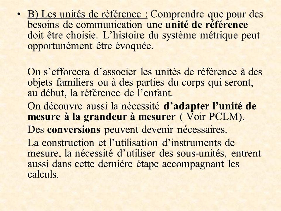B) Les unités de référence : Comprendre que pour des besoins de communication une unité de référence doit être choisie. Lhistoire du système métrique