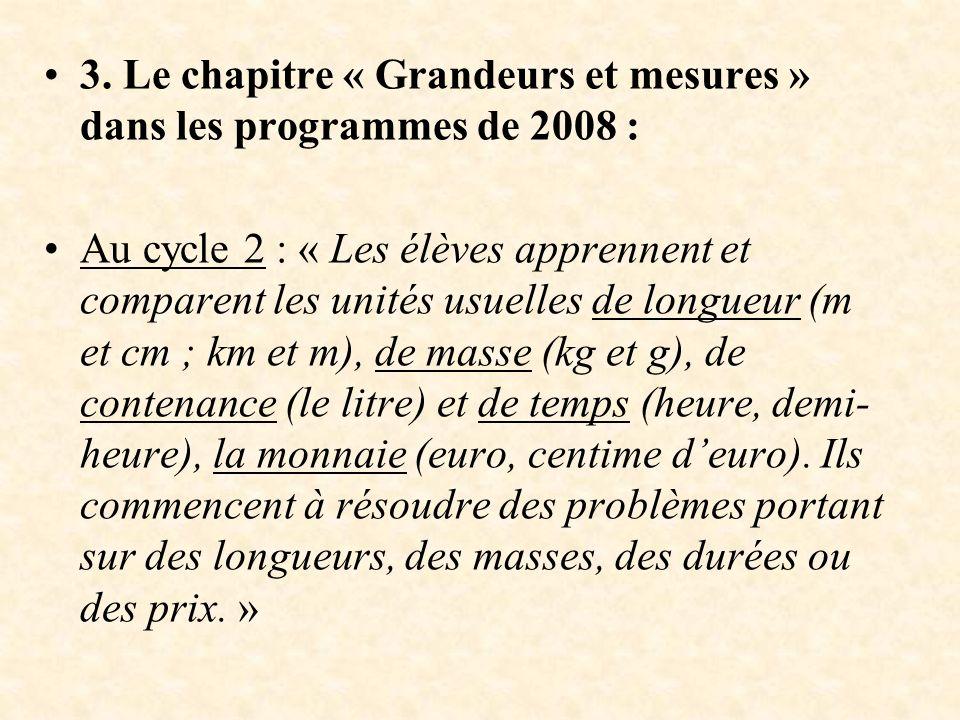 3. Le chapitre « Grandeurs et mesures » dans les programmes de 2008 : Au cycle 2 : « Les élèves apprennent et comparent les unités usuelles de longueu