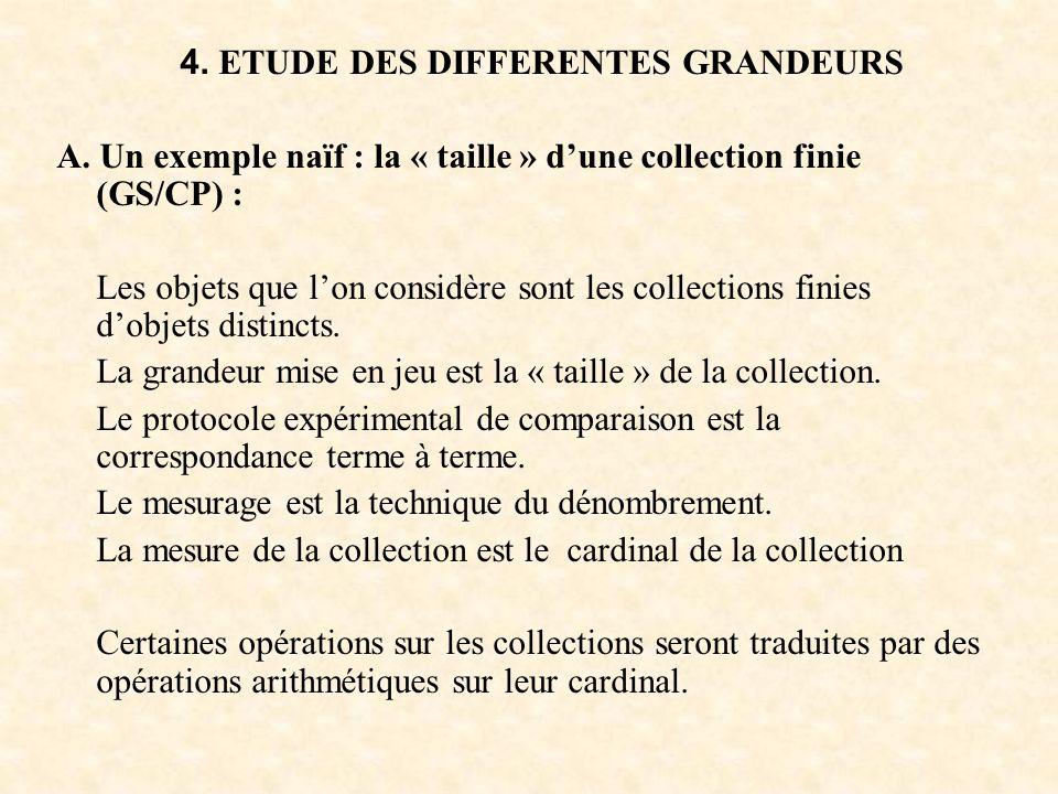 4. ETUDE DES DIFFERENTES GRANDEURS A. Un exemple naïf : la « taille » dune collection finie (GS/CP) : Les objets que lon considère sont les collection