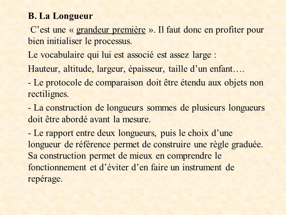 B. La Longueur Cest une « grandeur première ». Il faut donc en profiter pour bien initialiser le processus. Le vocabulaire qui lui est associé est ass