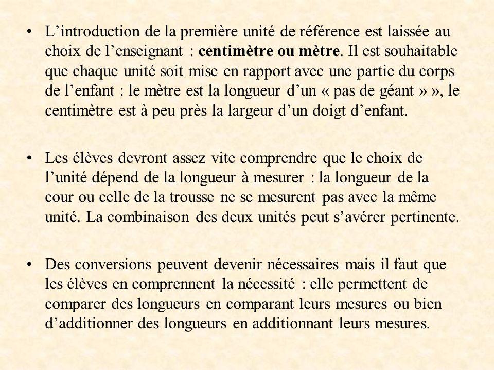 Lintroduction de la première unité de référence est laissée au choix de lenseignant : centimètre ou mètre. Il est souhaitable que chaque unité soit mi