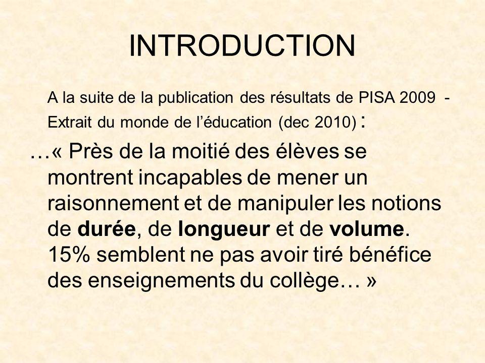 INTRODUCTION A la suite de la publication des résultats de PISA 2009 - Extrait du monde de léducation (dec 2010) : …« Près de la moitié des élèves se