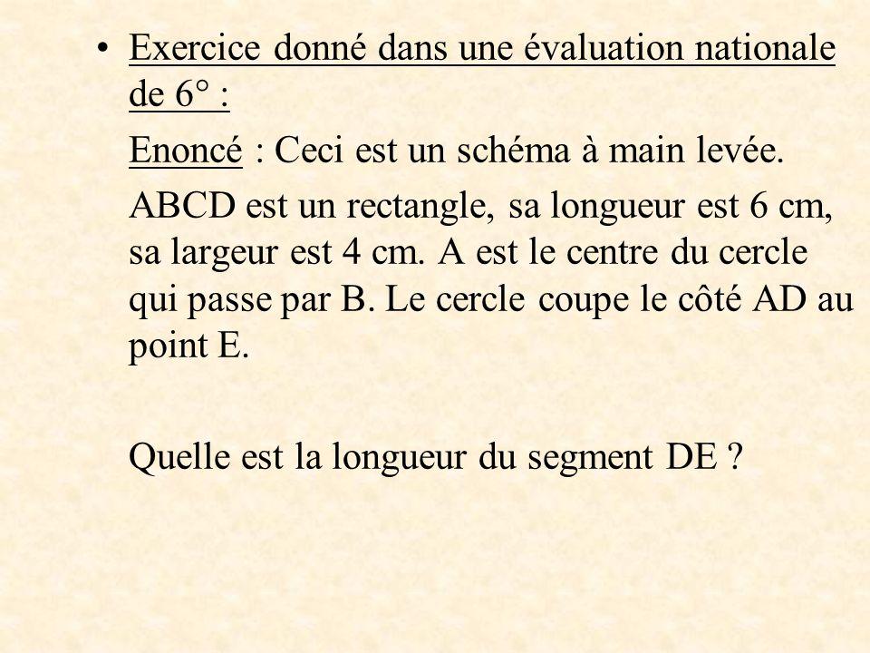 Exercice donné dans une évaluation nationale de 6° : Enoncé : Ceci est un schéma à main levée. ABCD est un rectangle, sa longueur est 6 cm, sa largeur