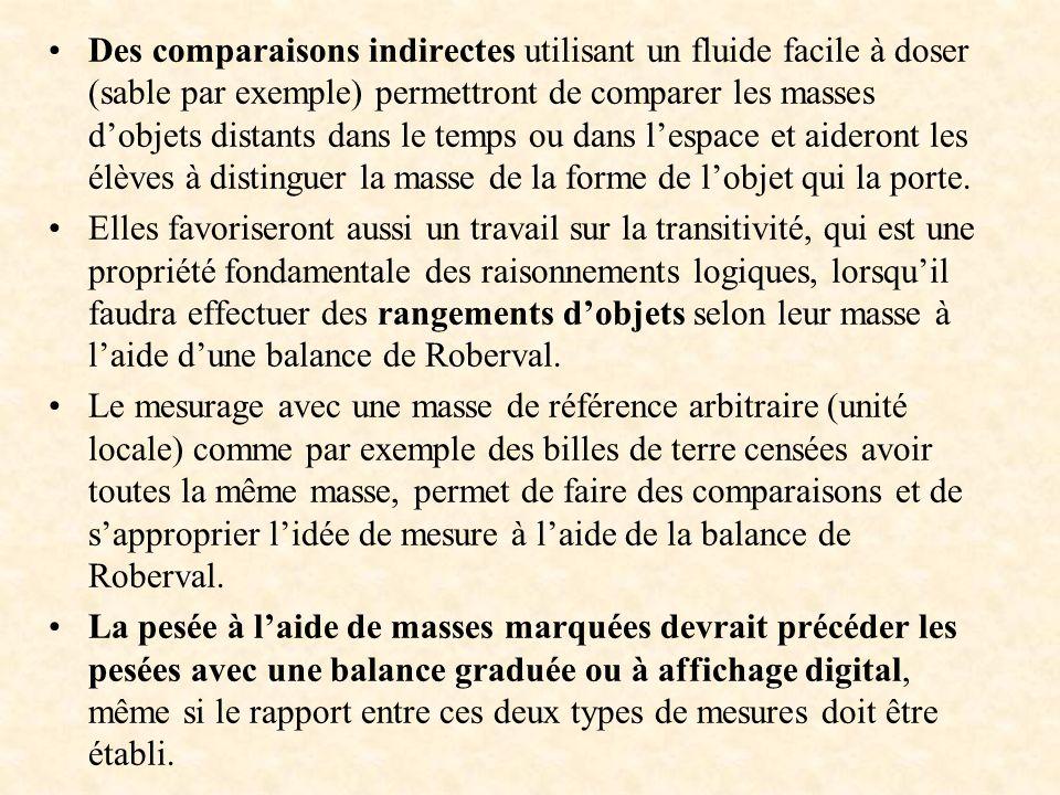 Des comparaisons indirectes utilisant un fluide facile à doser (sable par exemple) permettront de comparer les masses dobjets distants dans le temps o