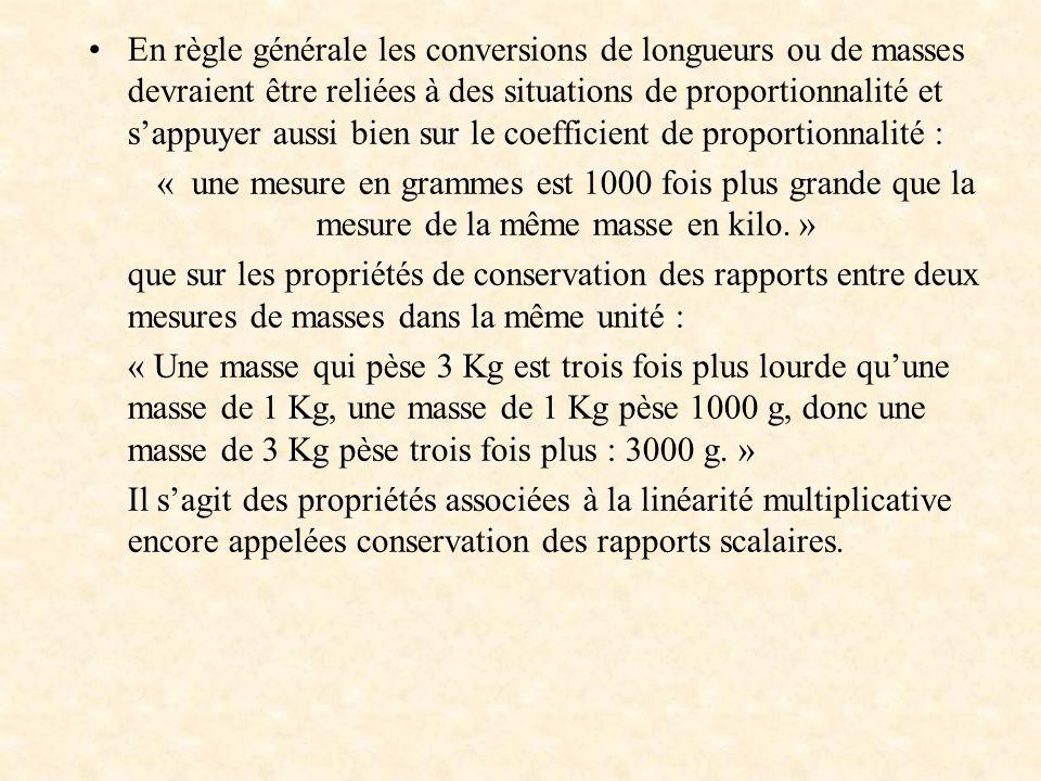 En règle générale les conversions de longueurs ou de masses devraient être reliées à des situations de proportionnalité et sappuyer aussi bien sur le