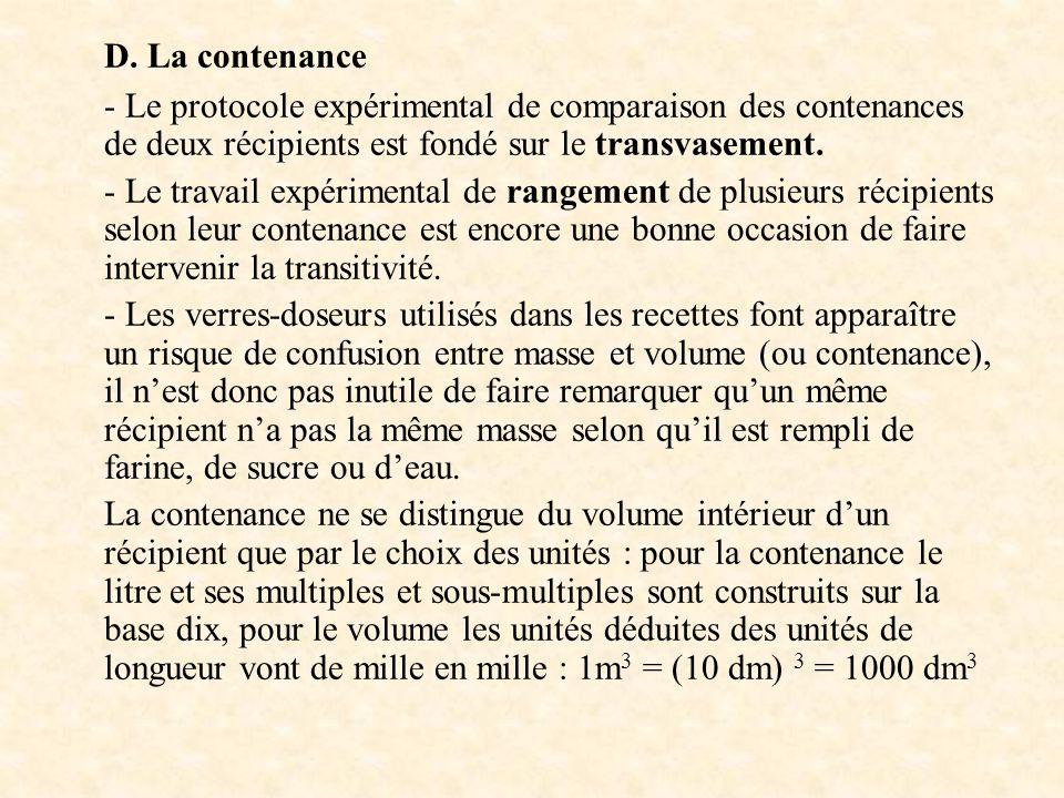 D. La contenance - Le protocole expérimental de comparaison des contenances de deux récipients est fondé sur le transvasement. - Le travail expériment