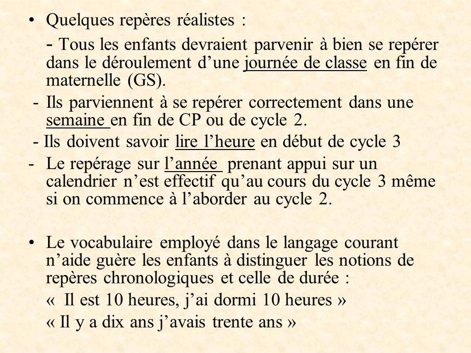 Quelques repères réalistes : - Tous les enfants devraient parvenir à bien se repérer dans le déroulement dune journée de classe en fin de maternelle (
