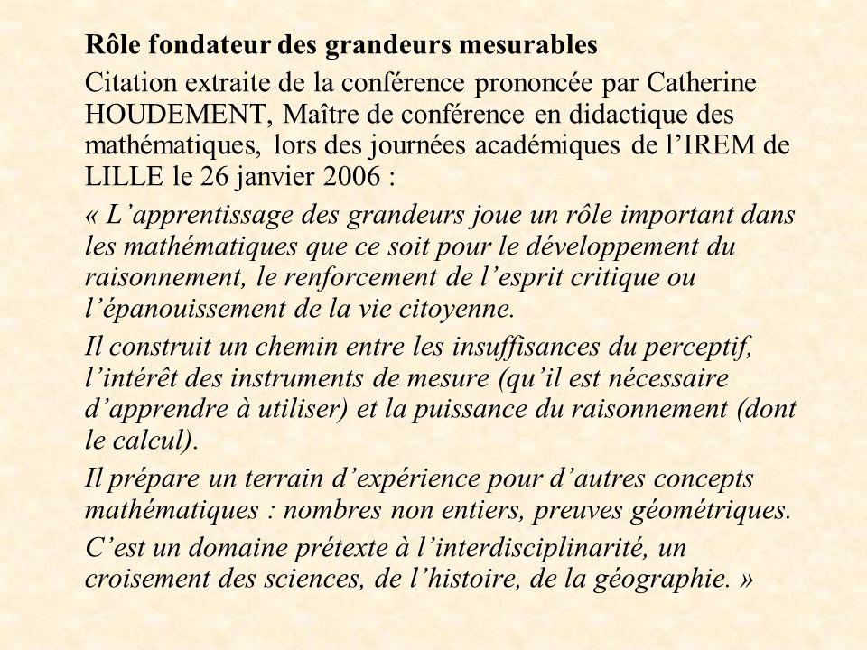 Rôle fondateur des grandeurs mesurables Citation extraite de la conférence prononcée par Catherine HOUDEMENT, Maître de conférence en didactique des m