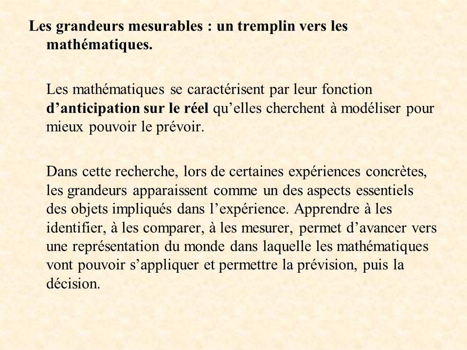 Les grandeurs mesurables : un tremplin vers les mathématiques. Les mathématiques se caractérisent par leur fonction danticipation sur le réel quelles